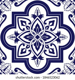 Delft dutch tile pattern vector seamless with ceramic ornament. Mexican talavera, portuguese azulejos, italian sicily or spanish majolica. Vintage texture for bathroom wall or kitchen floor.