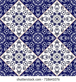 Delft dutch tile pattern vector with blue and white flower ornaments. Portuguese azulejo, mexican puebla talavera, spanish or italian majolica. Tiled texture for kitchen or bathroom flooring ceramic.