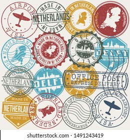 Delft Netherlands Set of Stamps. Travel Stamp. Made In Product. Design Seals Old Style Insignia.