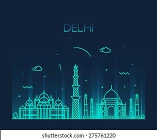 Delhi City skyline detailed silhouette. Trendy vector illustration, line art style.