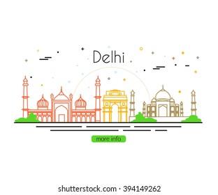 Delhi City Skyline. India Travel. Vector illustration.