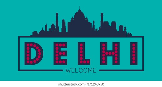 Delhi city skyline silhouette vector design