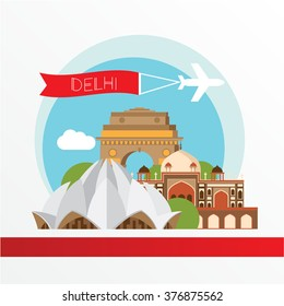 Delhi, detailed silhouette. Trendy vector illustration, flat style. Stylish colorful  landmarks. The concept for a web banner. Lotus temple - The symbol of India, Delhi.