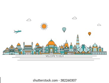 Delhi detailed skyline. Travel and tourism background. Vector background. line illustration. Line art style