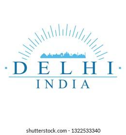 Delhi India. Banner Design. City Skyline. Silhouette Vector. Famous Monuments.