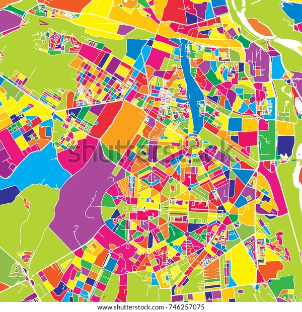 Delhi, India, colorful vector map.  White streets, railways and water. Bright colored landmark shapes. Art print pattern.