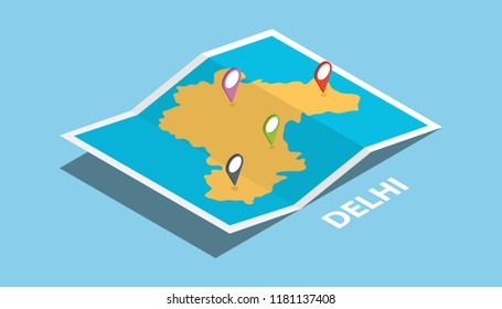 delhi india explore maps location with folded map and pin location maker destination in isometric style