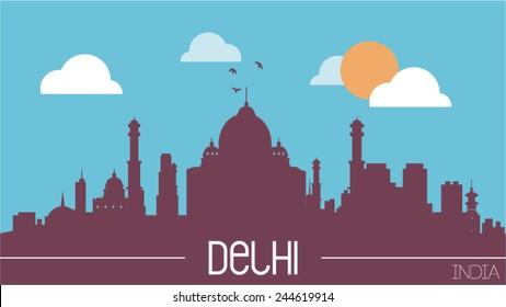 Delhi India skyline silhouette flat design vector illustration