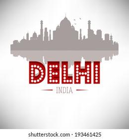 Delhi India Skyline vector illustration.