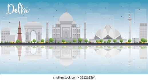 Delhi skyline with gray landmarks, blue sky and reflections. Vector illustration. Business travel and tourism concept with place for text. Image for presentation, banner, placard and web site.
