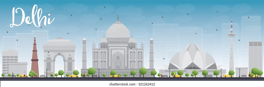 Delhi skyline with gray landmarks and blue sky. Vector illustration. Business travel and tourism concept with historic buildings. Image for presentation, banner, placard and web site.