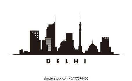 Delhi skyline and landmarks silhouette vector
