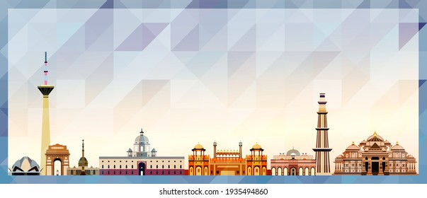 Delhi skyline vector colorful poster on beautiful triangular texture background