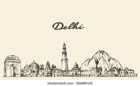 Delhi skyline, vector engraved illustration, hand drawn