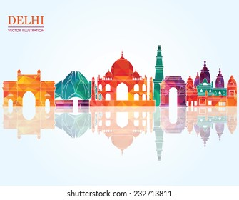 Delhi skyline. Vector illustration