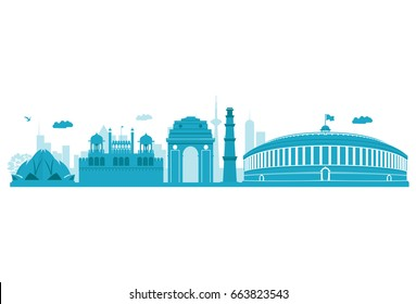 Delhi Skyline. Vector Illustration. Highly Detailed Vector.
