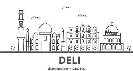 Deli architecture line skyline illustration. Linear vector cityscape with famous landmarks, city sights, design icons. Landscape wtih editable strokes