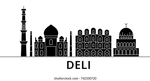 Deli architecture vector city skyline, travel cityscape with landmarks, buildings, isolated sights on background
