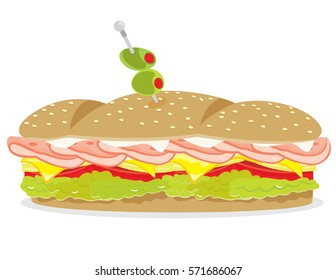 Deli ham and cheese sandwich vector