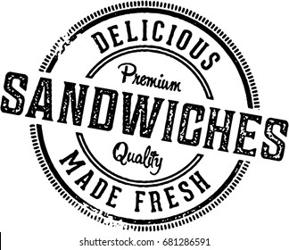 Deli Sandwiches Vintage Restaurant Stamp Sign