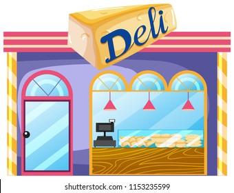 A deli shop on white background illustration