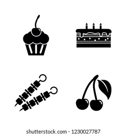 Delicacy Tasty Food. Simple Related Vector Icons Set for Video, Mobile Apps, Web Sites, Print Projects and Your Design. Delicacy Tasty Food icon Black Flat Illustration on White Background.
