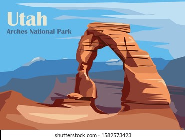 Delicate Arch in Arches National Park, Utah, United States. Vector illustration