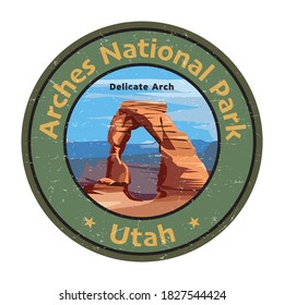 Delicate Arch in Arches National Park, Utah, United States. Vector illustration. Vector illustration