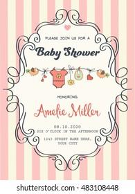 delicate baby girl shower card, vector format