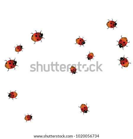 Delicate Background Ladybugs Trendy Template Postcard Stock Vector ...