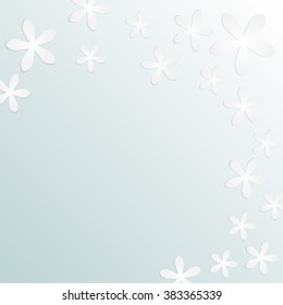 Delicate blue background with flowers.