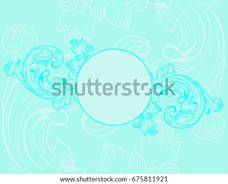 Delicate Blue Background Wedding Invitations Monograms Stock Vector