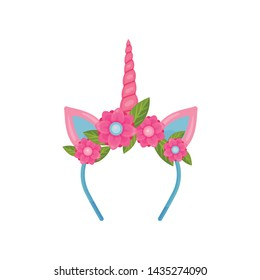 Delicate blue bezel with a pink unicorn horn and ears. Vector illustration on white background.