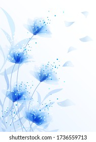 Blaue Blumen im Wind