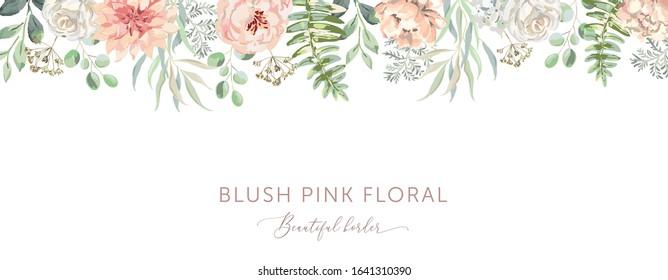 Delicate border of blush pink flowers, forest green leaves, white background. Wedding invitation banner frame. Rose, peony, fern. Vector illustration. Floral arrangement. Design template greeting card