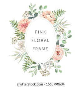 Delicate bouquet of blush pink flowers, forest green leaves, white background. Wedding invitation oval frame. Rose, peony, fern. Vector illustration. Floral arrangement. Design template greeting card