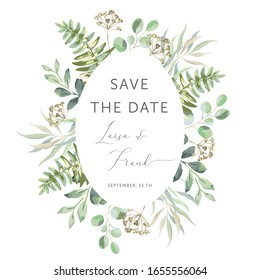 Delicate bouquet of forest green leaves, white background. Wedding invitation oval frame. Greenery, fern. Vector illustration. Floral arrangement. Design template greeting card