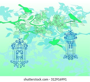 Delicate branch with blossoming flowers and birds and openwork birdcage