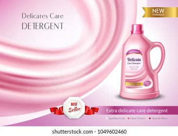 Delicate care detergent in plastic bottle ad poster with pink silk fabric realistic vector illustration