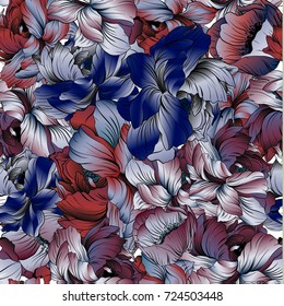 Delicate colors of a seampless pattern of a peony blossom. Red, blue, violet and black. Can be used for fabric, postcard, print, background, desktop.