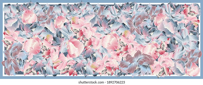Delicate colors of silk scarf with flowering peony. Abstract vector pattern with hand drawn floral elements. Trend colorful silk scarf with flowers.  Pink, blue, violet and white. Batik