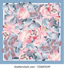 Delicate colors of silk scarf with flowering peony. Pink, blue, violet and white. Batik technique