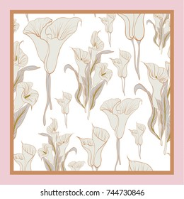 Delicate colors of silk scarf with flowering callas. Beige pink on white background. Batik technique