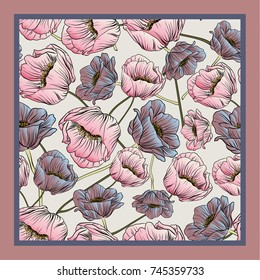 Delicate colors of silk scarf with flowering poppies.