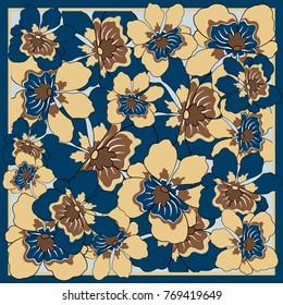 Delicate colors of silk scarf with flowering flowers. Batik technique