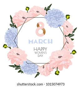 Delicate composition for women's day on a white background. Watercolors of pink and blue tones. An opening, a poster, an invitation, elements for women's day or weddings.