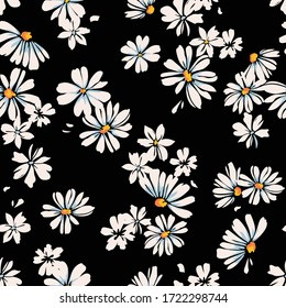 Delicate daisy print - seamless vector background