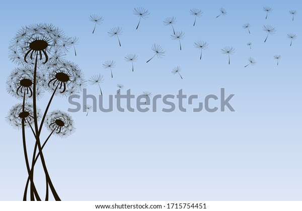 Delicate dandelions against a light blue sky with flying fluffs. Unique silhouettes of dandelions on a background of blue sky with a gradient. Vector illustration.