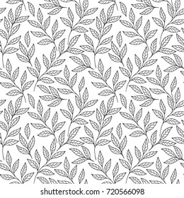Delicate design of tender branches and leaves. Black and white vector seamless pattern