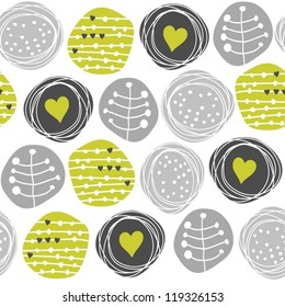 delicate floral gray green retro pattern with hearts on circles on white background
